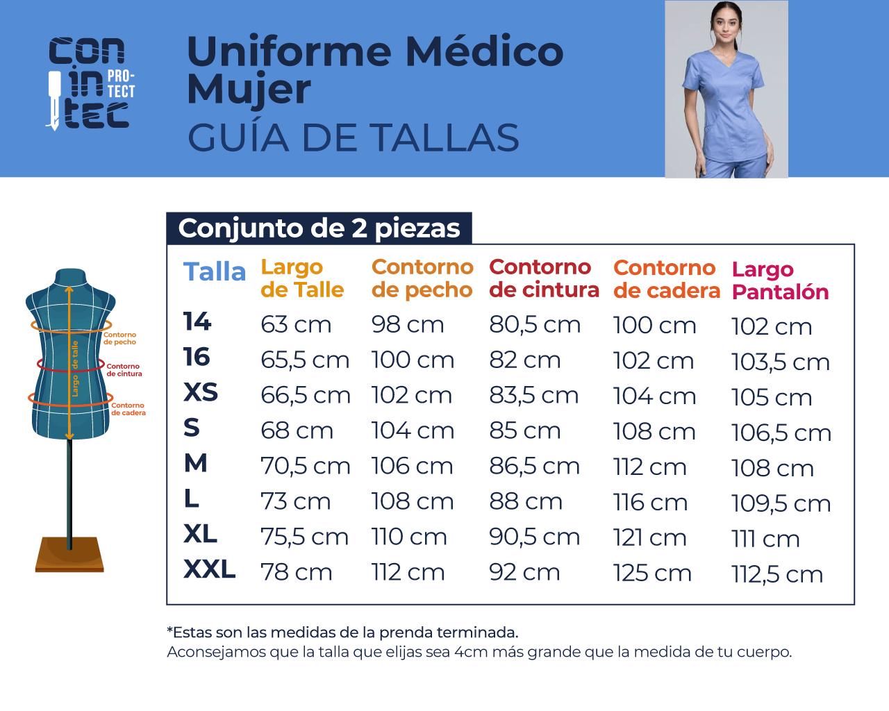 Guía de Tallas – Medico Mujer